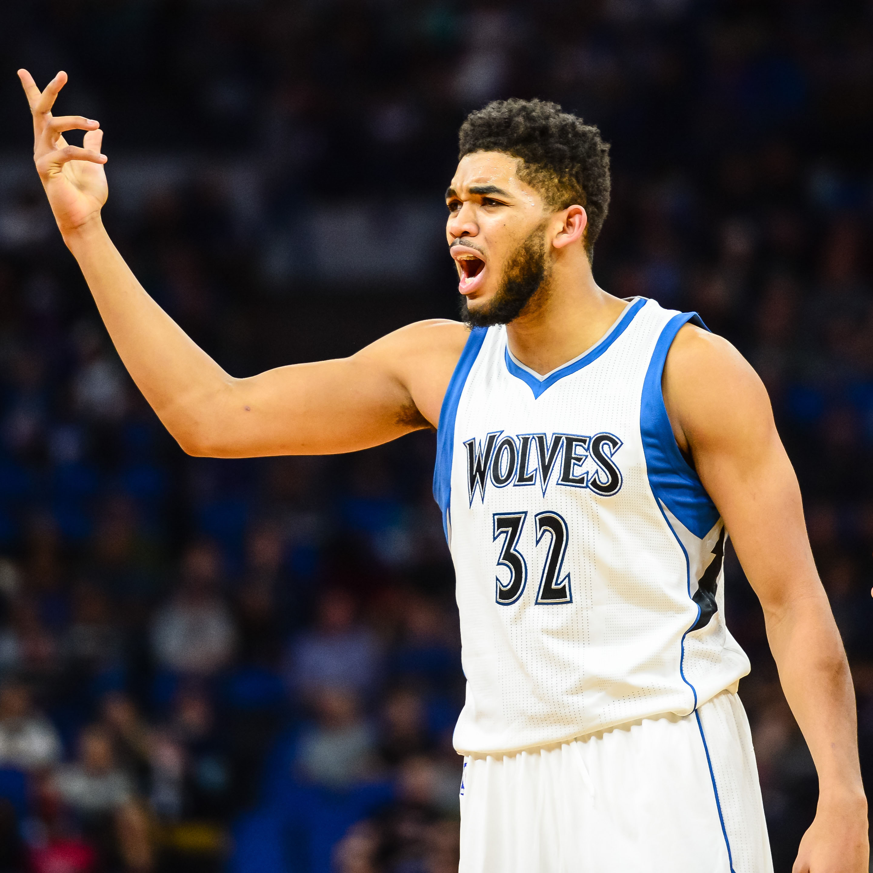 Feb 4, 2017; Minneapolis, MN, USA; Minnesota Timberwolves center Karl-Anthony Towns (32) reacts during the fourth quarter against the Memphis Grizzlies at Target Center. The Grizzlies won 107-99. Mandatory Credit: Jeffrey Becker-USA TODAY Sports