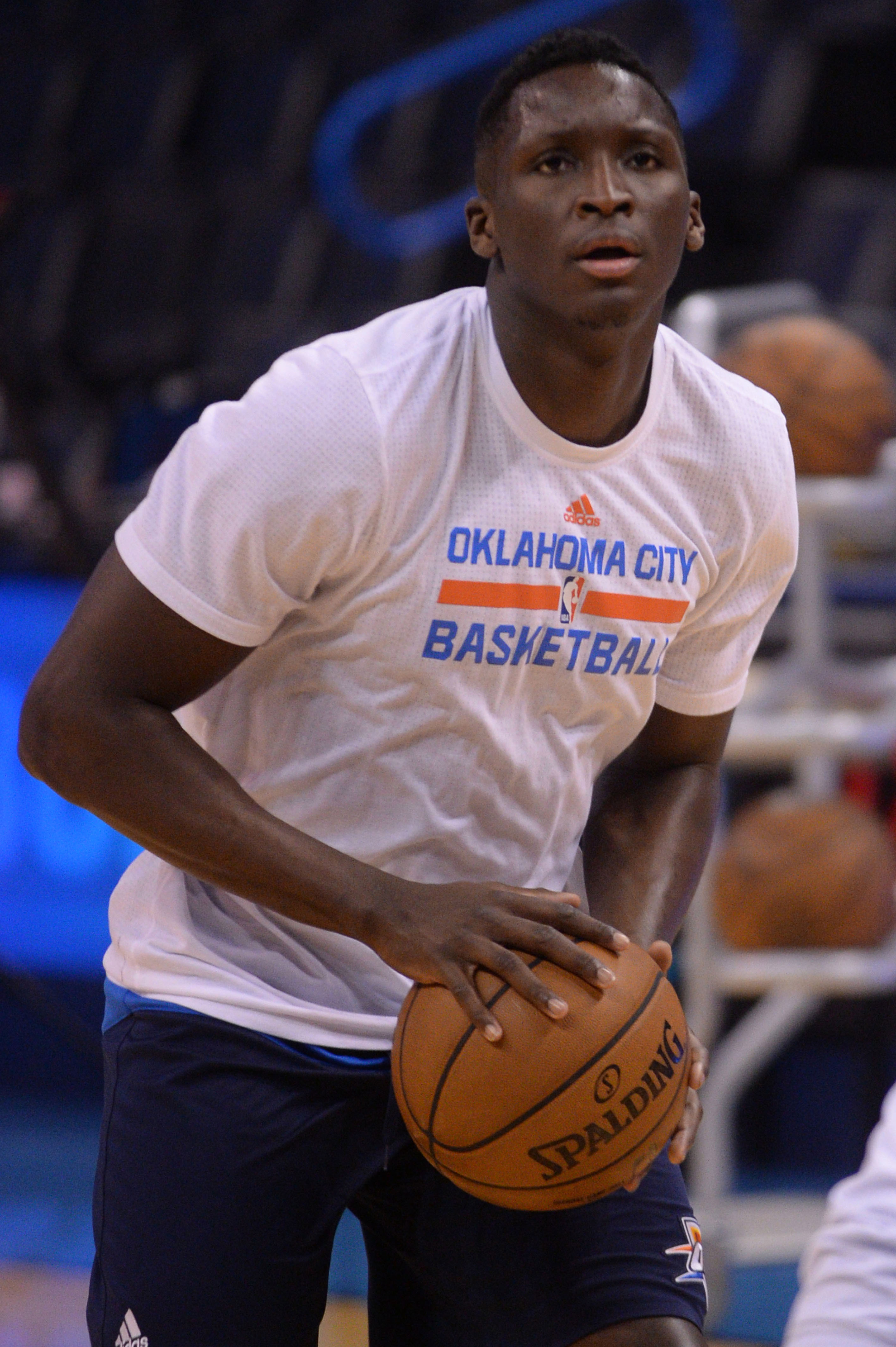 Feb 5, 2017; Oklahoma City, OK, USA; Oklahoma City Thunder guard Victor Oladipo (5) warms up prior to action against the Portland Trail Blazers at Chesapeake Energy Arena. Mandatory Credit: Mark D. Smith-USA TODAY Sports
