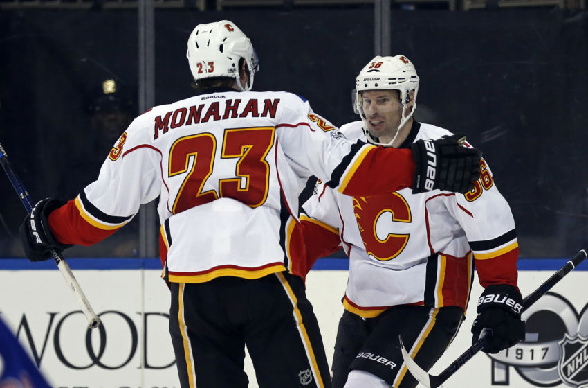 Vegas Golden Knights: Calgary Flames right wing Troy Brouwer (36) celebrates scoring a goal with Flames center Sean Monahan (23) during the third period against the New York Rangers at Madison Square Garden. Mandatory Credit: Adam Hunger-USA TODAY Sports
