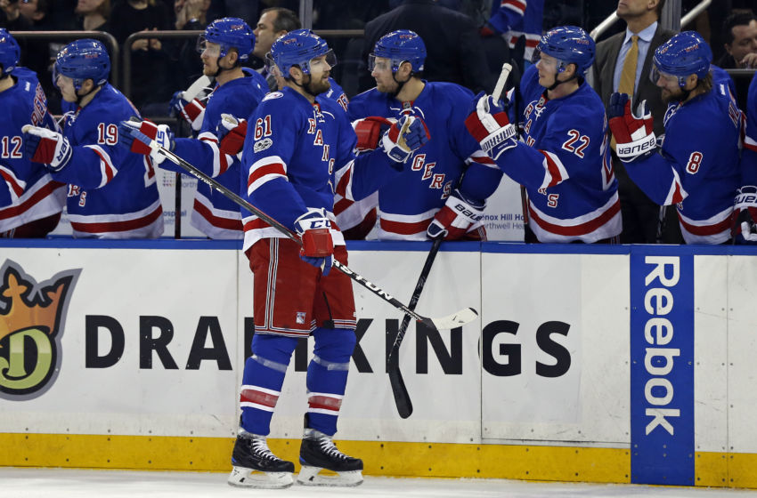 Vegas Golden Knights: New York Rangers right wing Rick Nash (61) celebrates scoring a goal during the first period against the Calgary Flames at Madison Square Garden. Mandatory Credit: Adam Hunger-USA TODAY Sports