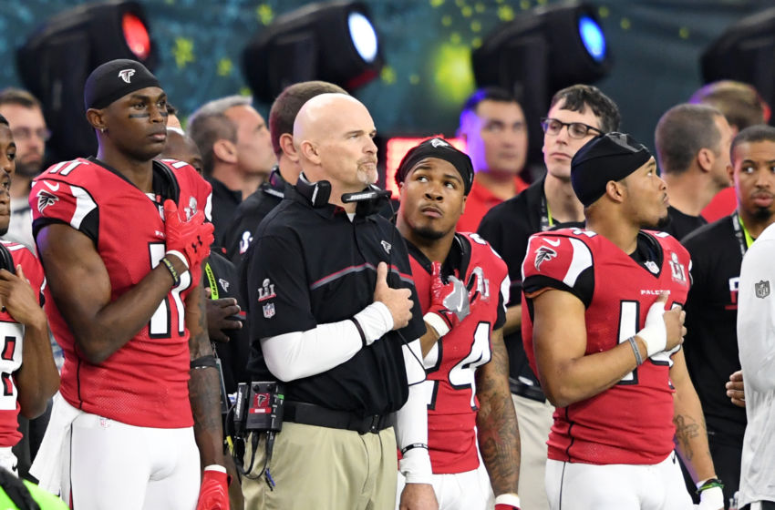 Feb 5, 2017; Houston, TX, USA; Atlanta Falcons head coach Dan Quinn and wide receiver Julio Jones (11) stand for the National Anthem before Super Bowl LI against the New England Patriots at NRG Stadium. Mandatory Credit: John David Mercer-USA TODAY Sports