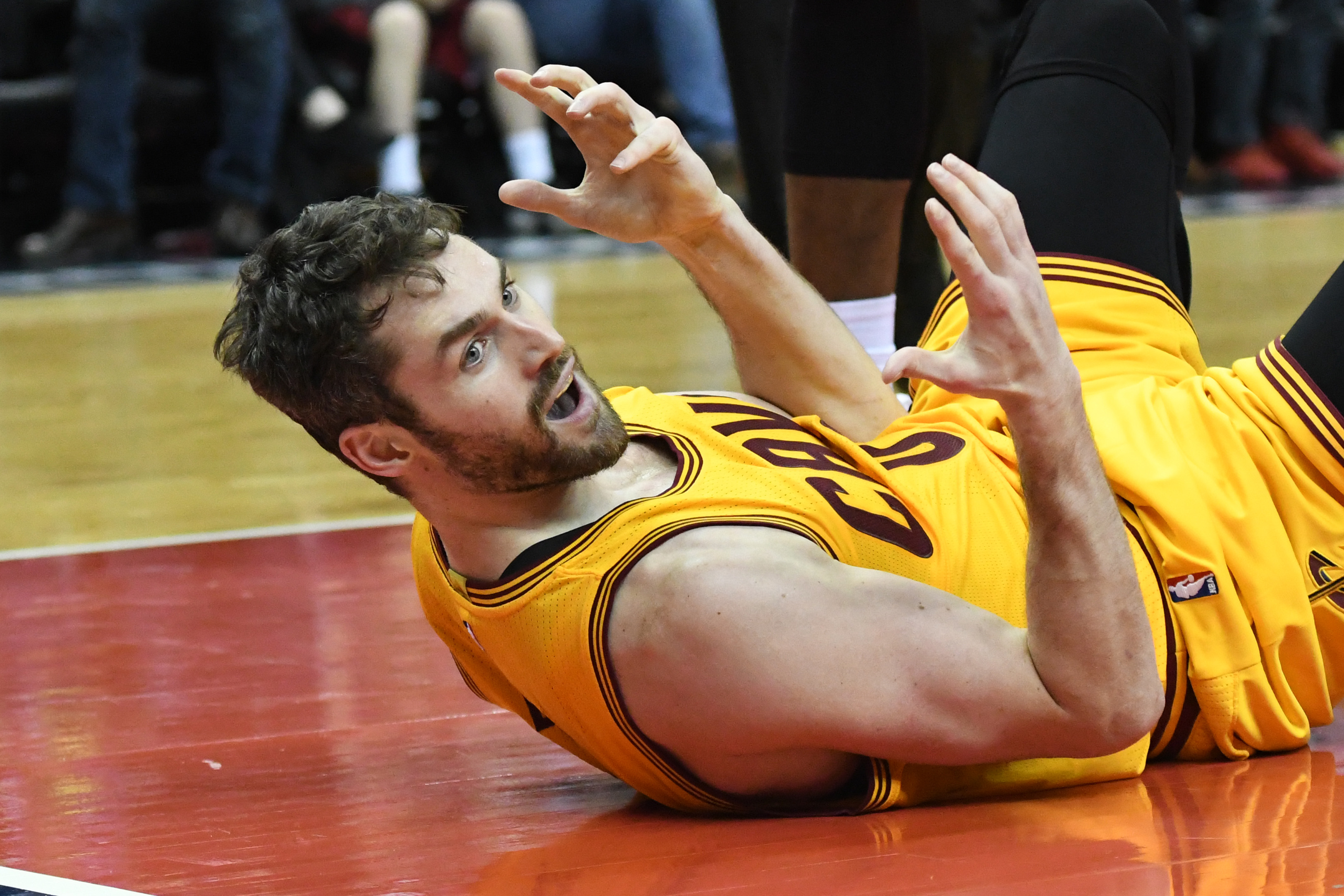 Feb 6, 2017; Washington, DC, USA; Cleveland Cavaliers forward Kevin Love (0) reacts after being called for a foul during the overtime against the Washington Wizards at Verizon Center. Cleveland Cavaliers defeated Washington Wizards 140-135 in overtime. Mandatory Credit: Tommy Gilligan-USA TODAY Sports