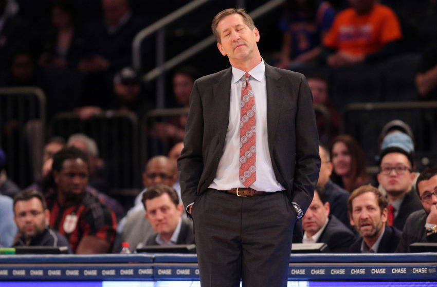 Feb 6, 2017; New York, NY, USA; New York Knicks head coach Jeff Hornacek reacts as he coaches against the Los Angeles Lakers during the fourth quarter at Madison Square Garden. Mandatory Credit: Brad Penner-USA TODAY Sports