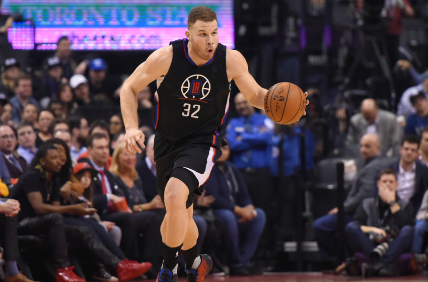 Feb 6, 2017; Toronto, Ontario, CAN; Los Angeles Clippers forward Blake Griffin (32) dribbles the ball against the Toronto Raptors at Air Canada Centre. The Raptors won 118-109. Mandatory Credit: Dan Hamilton-USA TODAY Sports