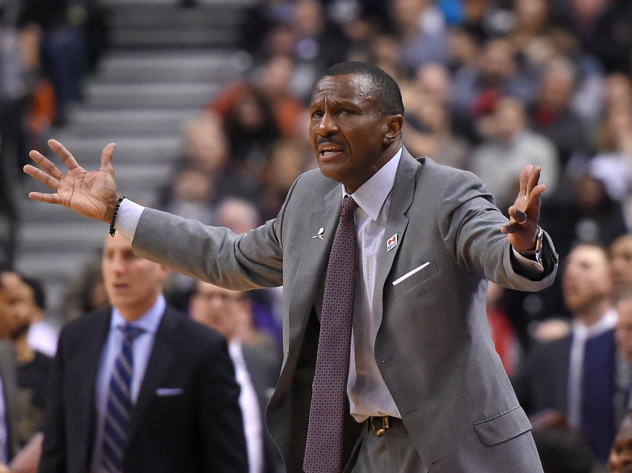 Feb 6, 2017; Toronto, Ontario, CAN; Toronto Raptors head coach Dwane Casey reacts to a call from the sidelines against the Los Angeles Clippers at Air Canada Centre. Mandatory Credit: Dan Hamilton-USA TODAY Sports