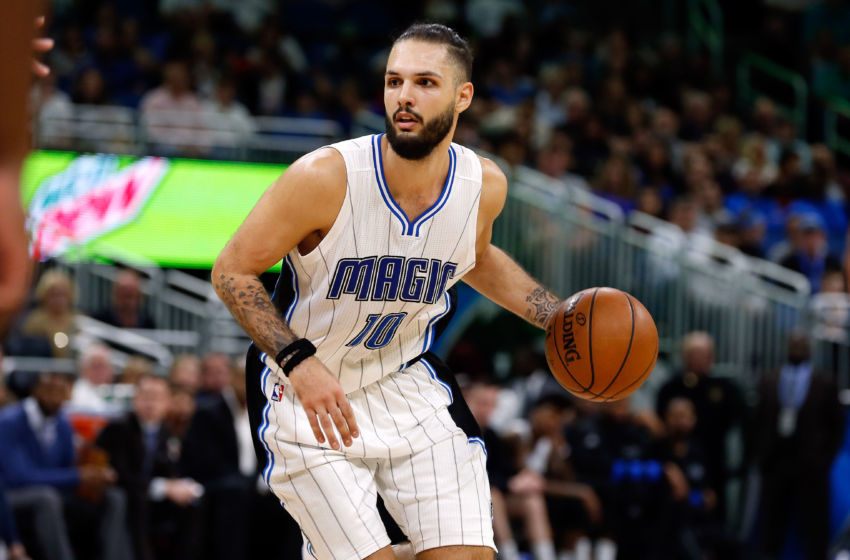 Jan 6, 2017; Orlando, FL, USA; Orlando Magic guard Evan Fournier (10) dribbles the ball during the second half at Amway Center. Houston Rockets defeated the Houston Rockets 100-93. Mandatory Credit: Kim Klement-USA TODAY Sports