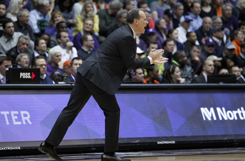 Feb 7, 2017; Evanston, IL, USA; Northwestern Wildcats head coach Chris Collins reacts during the second half of the game at Welsh-Ryan Arena. Mandatory Credit: Caylor Arnold-USA TODAY Sports