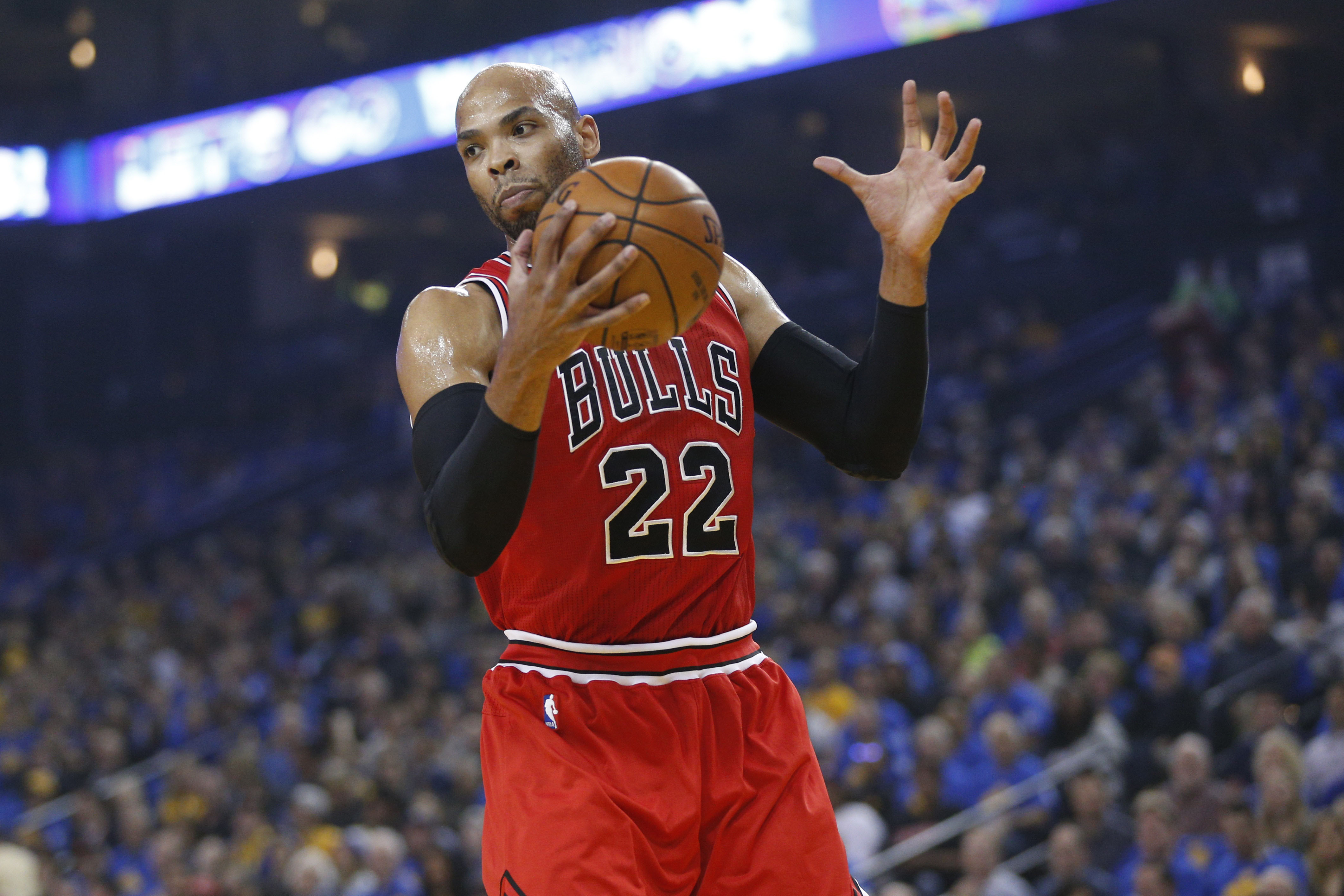 Feb 8, 2017; Oakland, CA, USA; Chicago Bulls forward Taj Gibson (22) holds onto a rebound against the Golden State Warriors in the first quarter at Oracle Arena. Mandatory Credit: Cary Edmondson-USA TODAY Sports