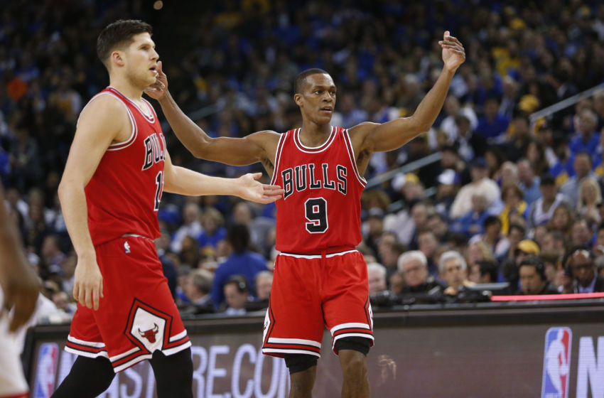 Feb 8, 2017; Oakland, CA, USA; Chicago Bulls guard Rajon Rondo (9) talks to teammates during a break in the action against the Golden State Warriors in the third quarter at Oracle Arena. The Warriors defeated the Bulls 123-92. Mandatory Credit: Cary Edmondson-USA TODAY Sports