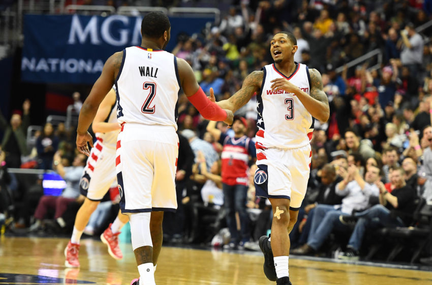 Feb 10, 2017; Washington, DC, USA; Washington Wizards guard Bradley Beal (3) and Washington Wizards guard John Wall (2) talk against the Indiana Pacers during the second half at Verizon Center. Mandatory Credit: Brad Mills-USA TODAY Sports