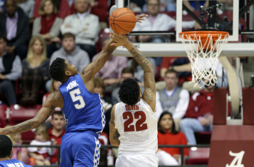 Feb 11, 2017; Tuscaloosa, AL, USA; Alabama Crimson Tide guard Ar'Mond Davis (22) has his shot blocked by Kentucky Wildcats guard Malik Monk (5) during the first half at Coleman Coliseum. Mandatory Credit: Marvin Gentry-USA TODAY Sports