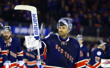 Feb 11, 2017; New York, NY, USA; New York Rangers goaltender Henrik Lundqvist (30) salutes the fans after defeating the Colorado Avalanche 4-2 at Madison Square Garden. The win was Lundqvist's 400th NHL win. Mandatory Credit: Andy Marlin-USA TODAY Sports