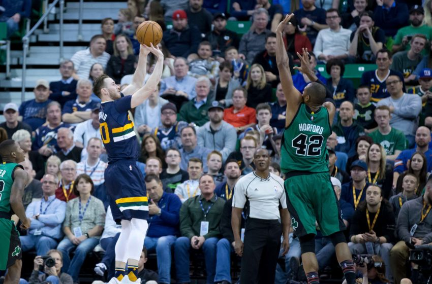 Feb 11, 2017; Salt Lake City, UT, USA; Utah Jazz forward Gordon Hayward (20) shoots the ball against Boston Celtics center Al Horford (42) during the second half at Vivint Smart Home Arena. Boston won 112-104. Mandatory Credit: Russ Isabella-USA TODAY Sports