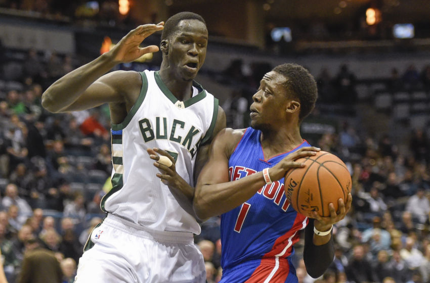 Feb 13, 2017; Milwaukee, WI, USA; Detroit Pistons guard Reggie Jackson (1) drives for the basket against Milwaukee Bucks forward Thon Maker (7) in the first quarter at BMO Harris Bradley Center. Mandatory Credit: Benny Sieu-USA TODAY Sports