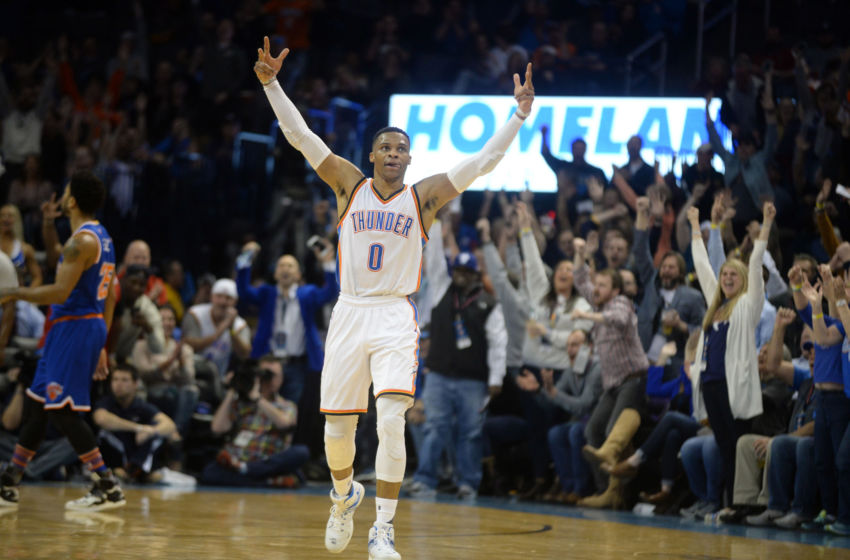 Feb 15, 2017; Oklahoma City, OK, USA; Oklahoma City Thunder guard Russell Westbrook (0) reacts after scoring against the New York Knicks during the second quarter at Chesapeake Energy Arena. Mandatory Credit: Mark D. Smith-USA TODAY Sports