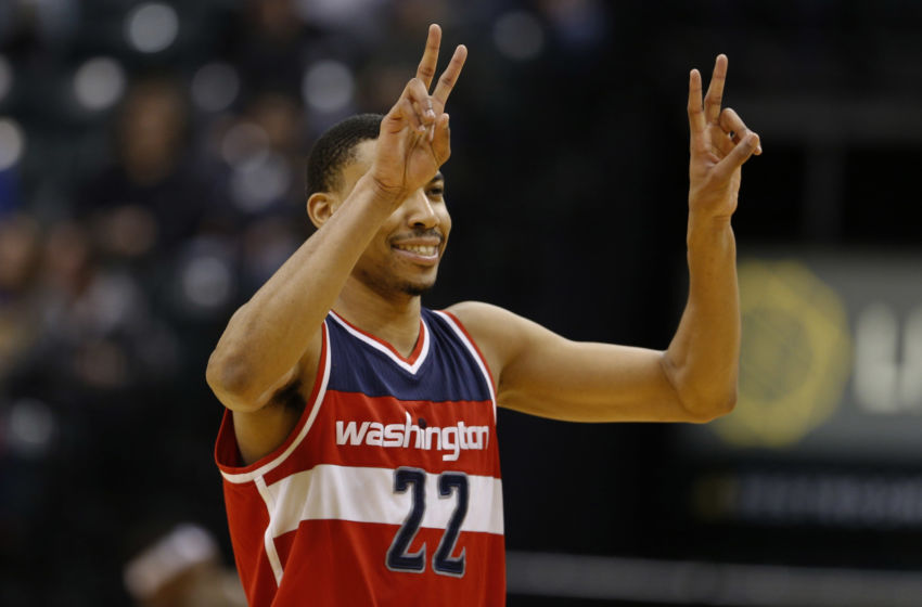 Feb 16, 2017; Indianapolis, IN, USA; Washington Wizards forward Otto Porter (22) reacts to the Wizards defeating the Indiana Pacers at Bankers Life Fieldhouse. Washington defeats Indiana 111-98. Mandatory Credit: Brian Spurlock-USA TODAY Sports