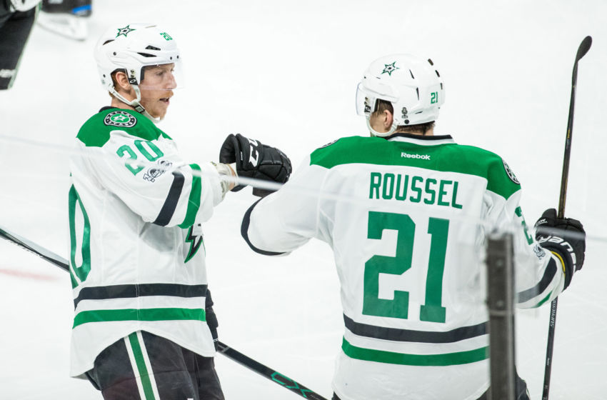 Feb 16, 2017; Saint Paul, MN, USA; Dallas Stars forward Cody Eakin (20) celebrates his goal with forward Antoine Roussel (21) during the third period at Xcel Energy Center. The Wild defeated the Stars 3-1. Mandatory Credit: Brace Hemmelgarn-USA TODAY Sports
