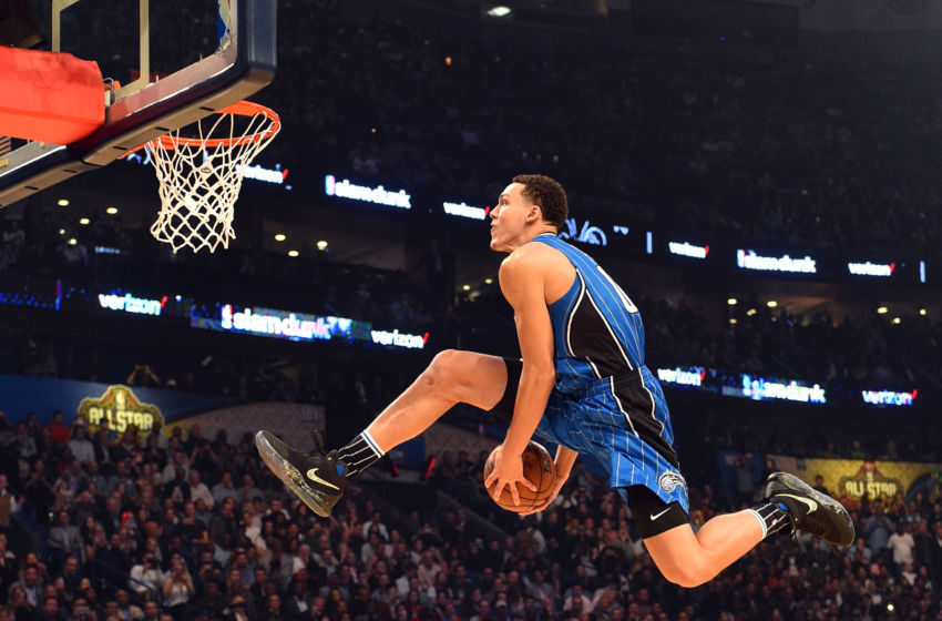 Feb 18, 2017; New Orleans, LA, USA; Orlando Magic forward Aaron Gordon (00) competes in the slam dunk contest during NBA All-Star Saturday Night at Smoothie King Center. Mandatory Credit: Bob Donnan-USA TODAY Sports