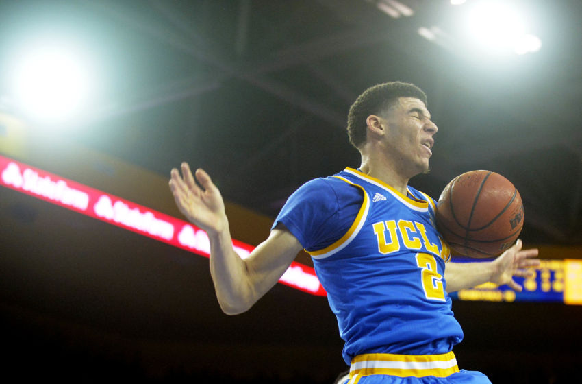 February 18, 2017; Los Angeles, CA, USA; UCLA Bruins guard Lonzo Ball (2) reacts after scoring a basket against the Southern California Trojans during the second half at Pauley Pavilion. Mandatory Credit: Gary A. Vasquez-USA TODAY Sports