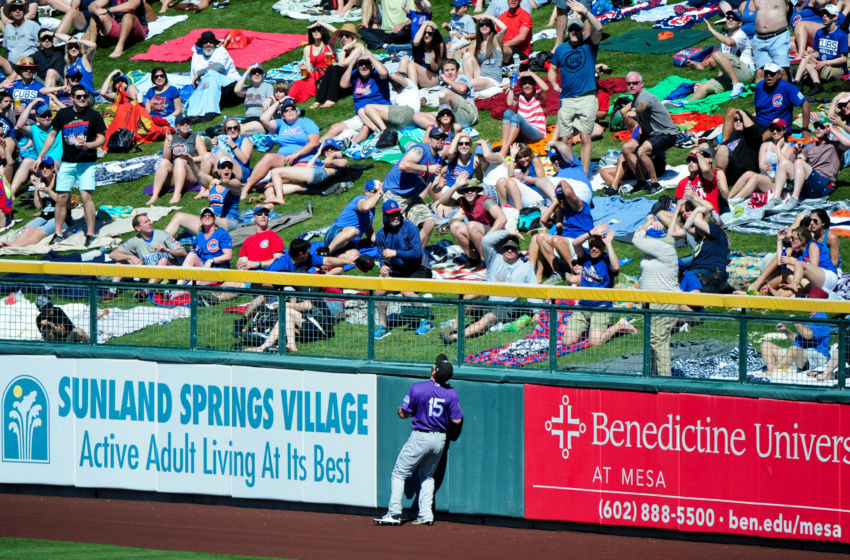 Mar 11, 2017; Mesa, AZ, USA; Colorado Rockies center fielder Chris Denorfia (15)and fans watch as a ball hit by Chicago Cubs catcher Kyle Schwarber (12) goes over the wall for a home run in the third inning during a spring training game at Sloan Park. Mandatory Credit: Matt Kartozian-USA TODAY Sports