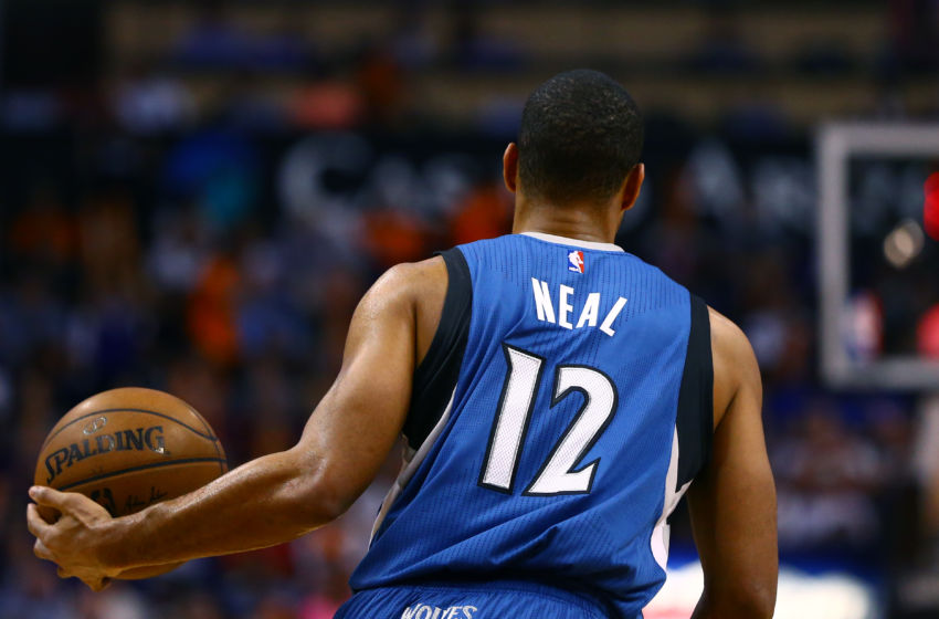 Mar 11, 2015; Phoenix, AZ, USA; Minnesota Timberwolves guard Gary Neal (12) against the Phoenix Suns at US Airways Center. The Suns defeated the Timberwolves 106-97. Mandatory Credit: Mark J. Rebilas-USA TODAY Sports