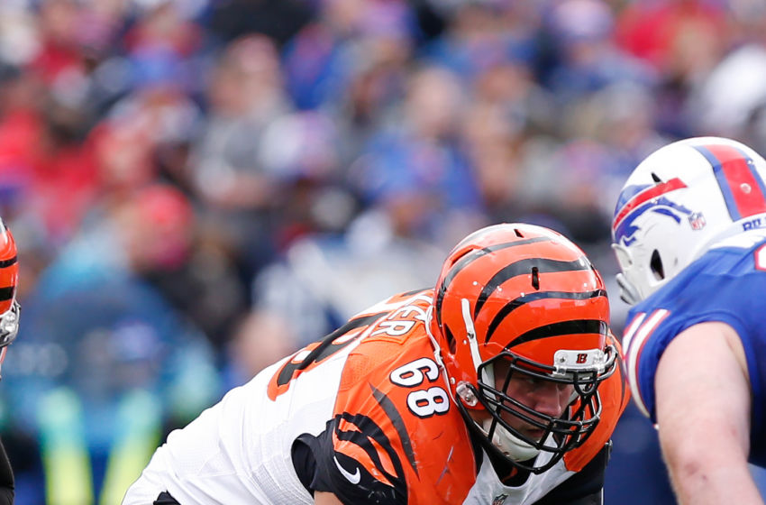 Oct 18, 2015; Orchard Park, NY, USA; Cincinnati Bengals guard Kevin Zeitler (68) during the game against the Buffalo Bills at Ralph Wilson Stadium. Mandatory Credit: Kevin Hoffman-USA TODAY Sports