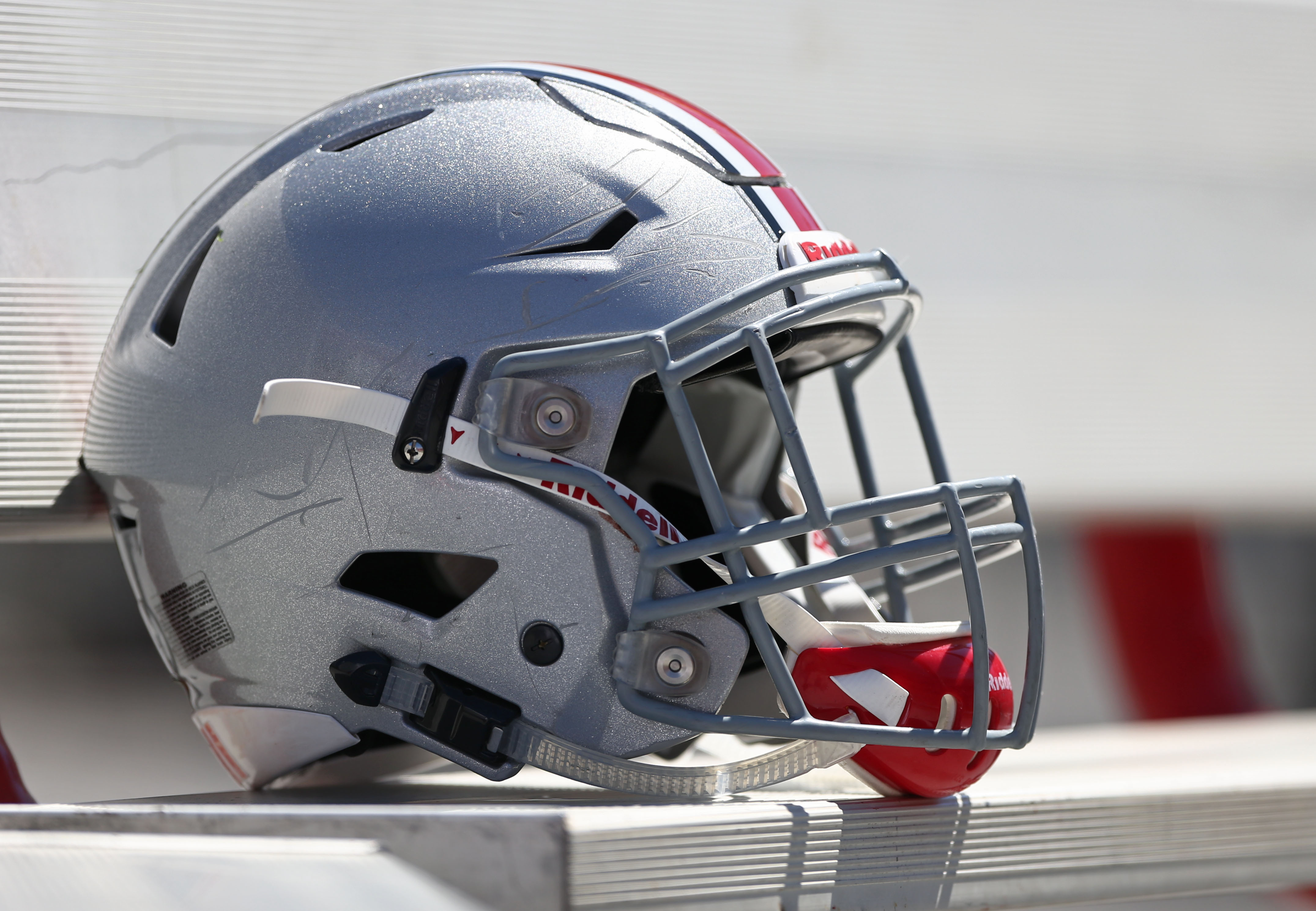 Apr 16, 2016; Columbus, OH, USA; A general view of an Ohio State football helmet on the sidelines during the Ohio State Spring Game at Ohio Stadium. Mandatory Credit: Aaron Doster-USA TODAY Sports