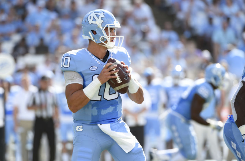 Sep 17, 2016; Chapel Hill, NC, USA; North Carolina Tar Heels quarterback Mitch Trubisky (10) looks to pass in the first quarter at Kenan Memorial Stadium. Mandatory Credit: Bob Donnan-USA TODAY Sports