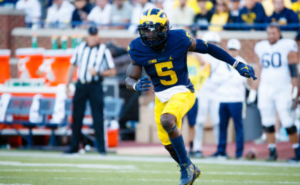 Sep 24, 2016; Ann Arbor, MI, USA; Michigan Wolverines linebacker Jabrill Peppers (5) is seen during the game against the Penn State Nittany Lions at Michigan Stadium. Mandatory Credit: Rick Osentoski-USA TODAY Sports