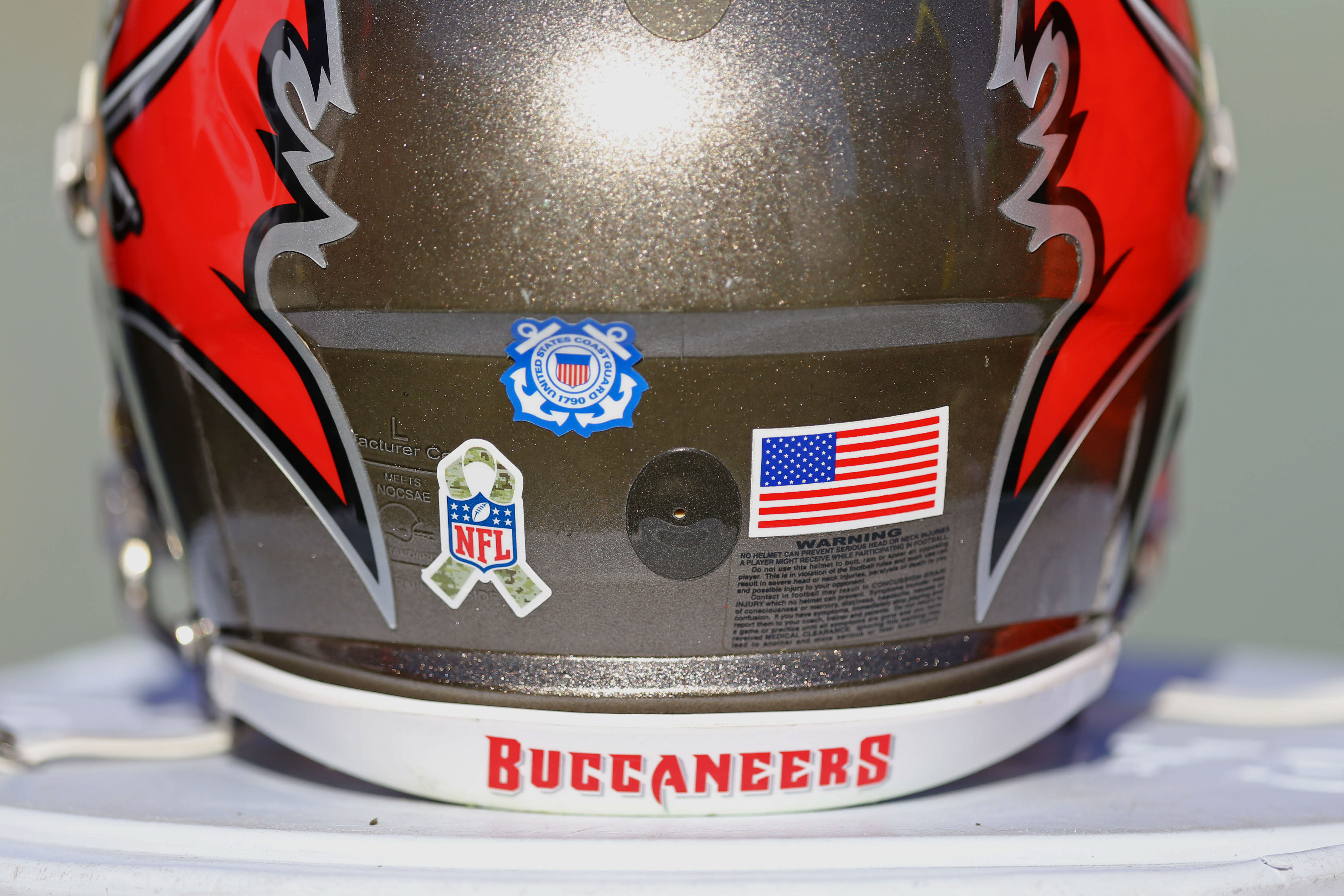Nov 13, 2016; Tampa, FL, USA; A view of a Salute to Service, United States Coast Guard, and American flag sticker on a Tampa Bay Buccaneers helmet at Raymond James Stadium. The Buccaneers won 36-10. Mandatory Credit: Aaron Doster-USA TODAY Sports