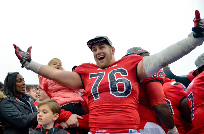 Dec 3, 2016; Bowling Green, KY, USA; Western Kentucky Hilltoppers offensive lineman Forrest Lamp (76) celebrates his teams victory following the CUSA championship game against the Louisiana Tech Bulldogs at Houchens Industries-L.T. Smith Stadium. Western Kentucky won 58-44. Mandatory Credit: Jim Brown-USA TODAY Sports