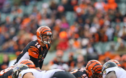 Jan 1, 2017; Cincinnati, OH, USA; Cincinnati Bengals quarterback Andy Dalton (14) against the Baltimore Ravens at Paul Brown Stadium. The Bengals won 27-10. Mandatory Credit: Aaron Doster-USA TODAY Sports