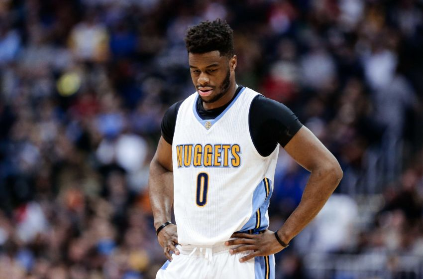Jan 21, 2017; Denver, CO, USA; Denver Nuggets guard Emmanuel Mudiay (0) in the second quarter against the Los Angeles Clippers at the Pepsi Center. The Nuggets won 123-98. Mandatory Credit: Isaiah J. Downing-USA TODAY Sports
