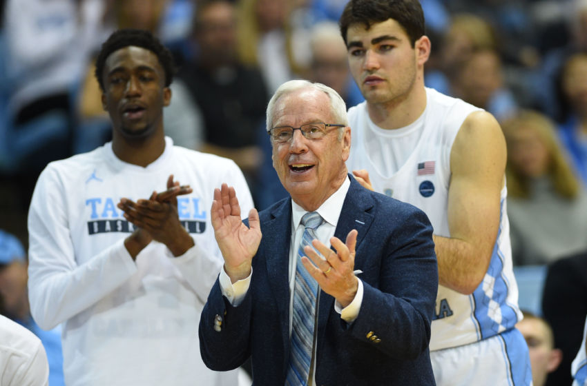 Jan 26, 2017; Chapel Hill, NC, USA; North Carolina Tar Heels head coach Roy Williams reacts in the second half. The Tar Heels defeated the Hokies 91-72 at Dean E. Smith Center. Mandatory Credit: Bob Donnan-USA TODAY Sports
