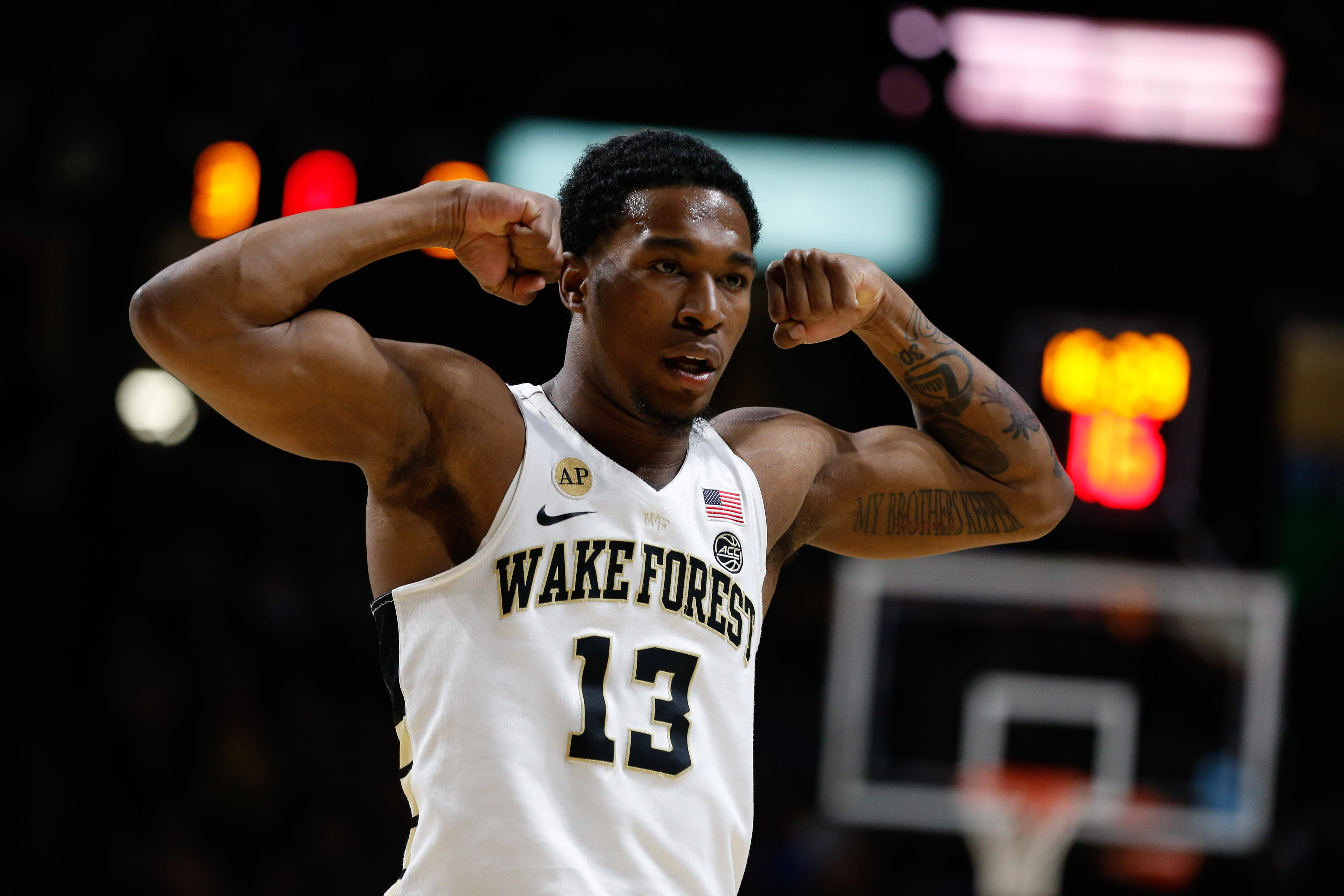 Jan 28, 2017; Winston-Salem, NC, USA; Wake Forest Demon Deacons guard Bryant Crawford (13) reacts after a score in the first half against the Duke Blue Devils at Lawrence Joel Veterans Memorial Coliseum. Mandatory Credit: Jeremy Brevard-USA TODAY Sports
