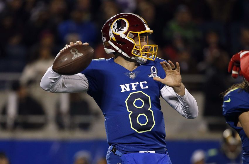 Jan 29, 2017; Orlando, FL, USA; NFC quarterback Kirk Cousins of the Washington Redskins (8) throws the ball during the second half at Citrus Bowl.AFC defeated the NFC 20-13. Mandatory Credit: Kim Klement-USA TODAY Sports