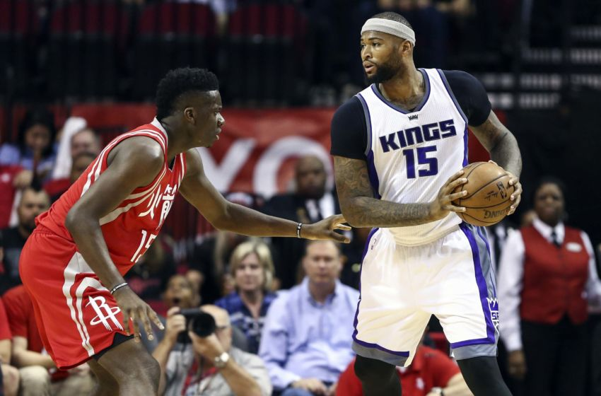 Jan 31, 2017; Houston, TX, USA; Sacramento Kings forward DeMarcus Cousins (15) controls the ball as Houston Rockets center Clint Capela (15) defends during the first quarter at Toyota Center. Mandatory Credit: Troy Taormina-USA TODAY Sports