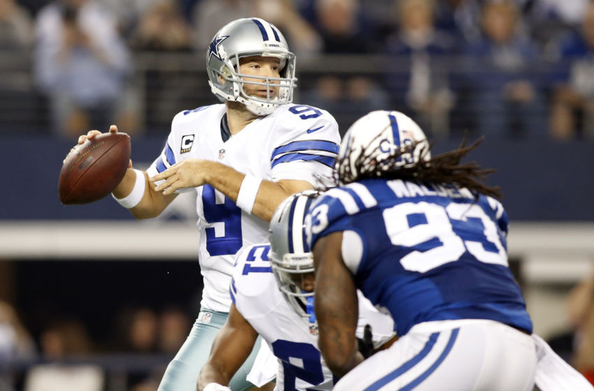 Dec 21, 2014; Arlington, TX, USA; Dallas Cowboys quarterback Tony Romo (9) throws the ball against the Indianapolis Colts in the first quarter at AT&T Stadium. Mandatory Credit: Tim Heitman-USA TODAY Sports