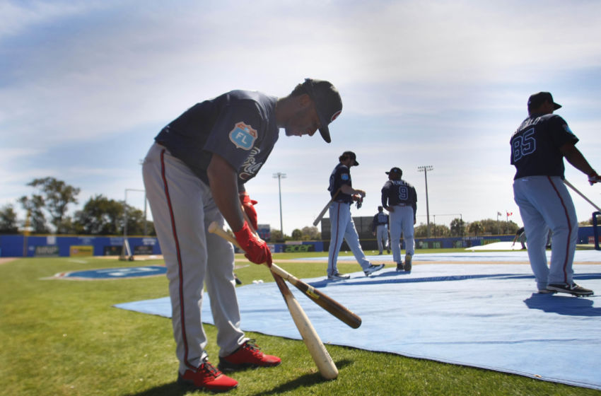 Mar 7, 2016; Dunedin, FL, USA; Atlanta Braves shortstop Ozzie Albies (87) works out prior to the game against the Toronto Blue Jays at Florida Auto Exchange Park. Mandatory Credit: Kim Klement-USA TODAY Sports