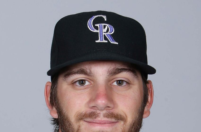 Feb 29, 2016; Scottsdale, AZ, USA; Colorado Rockies relief pitcher <a rel=