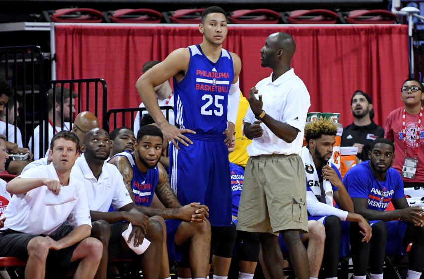 Jul 12, 2016; Las Vegas, NV, USA; Philadelphia 76ers Summer League head coach Lloyd Pierce talks to forward Ben Simmons (25) on the bench during an NBA Summer League game against the Golden State Warriors at Thomas & Mack Center. Golden State won the game 85-77. Mandatory Credit: Stephen R. Sylvanie-USA TODAY Sports