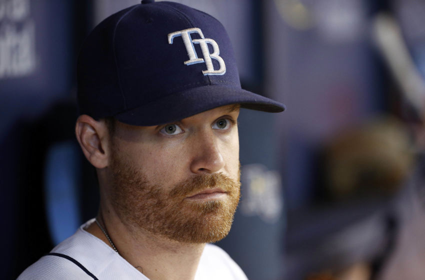 Aug 22, 2016; St. Petersburg, FL, USA; Tampa Bay Rays second baseman Logan Forsythe (11) looks on from the dugout against the Boston Red Sox at Tropicana Field. Mandatory Credit: Kim Klement-USA TODAY Sports