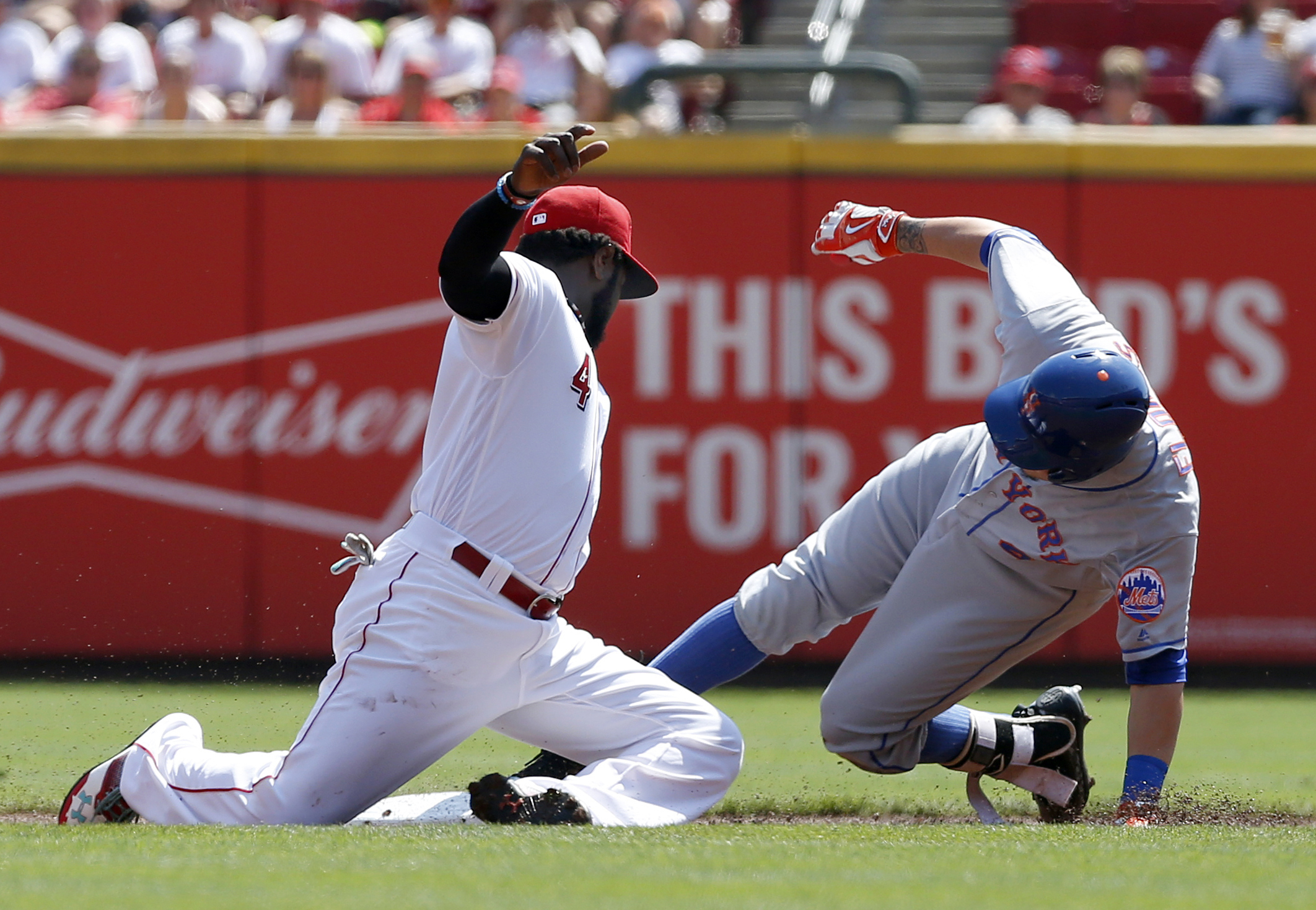 The Atlanta Braves completed a trade for Reds second baseman Brandon Phillips - seen here putting the tag on Wilmer Flores last September - after injury sidelined Sean Rodriguez for the season. Mandatory Credit: David Kohl-USA TODAY Sports