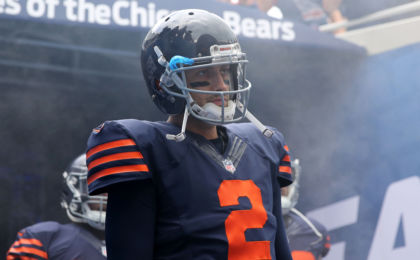 Oct 2, 2016; Chicago, IL, USA; Chicago Bears quarterback Brian Hoyer (2) prior to a game against the Detroit Lions at Soldier Field. Mandatory Credit: Dennis Wierzbicki-USA TODAY Sports