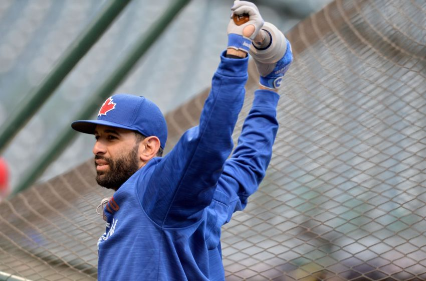 Oct 13, 2016; Cleveland, OH, USA; Toronto Blue Jays right fielder Jose Bautista works out one day prior to game one of the ALCS at Progressive Field. Mandatory Credit: Ken Blaze-USA TODAY Sports