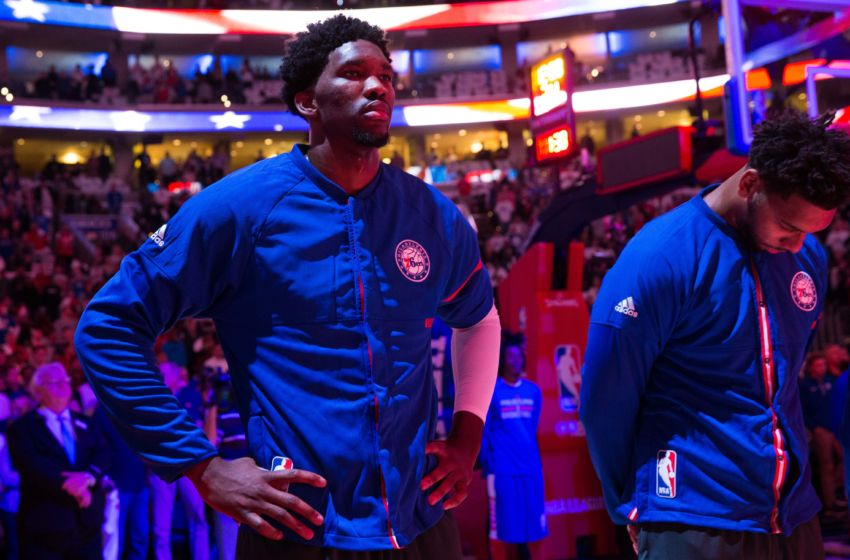 Oct 26, 2016; Philadelphia, PA, USA; Philadelphia 76ers center Joel Embiid (21) stands for the national anthem prior to action against the Oklahoma City Thunder during the first half at Wells Fargo Center. Mandatory Credit: Bill Streicher-USA TODAY Sports