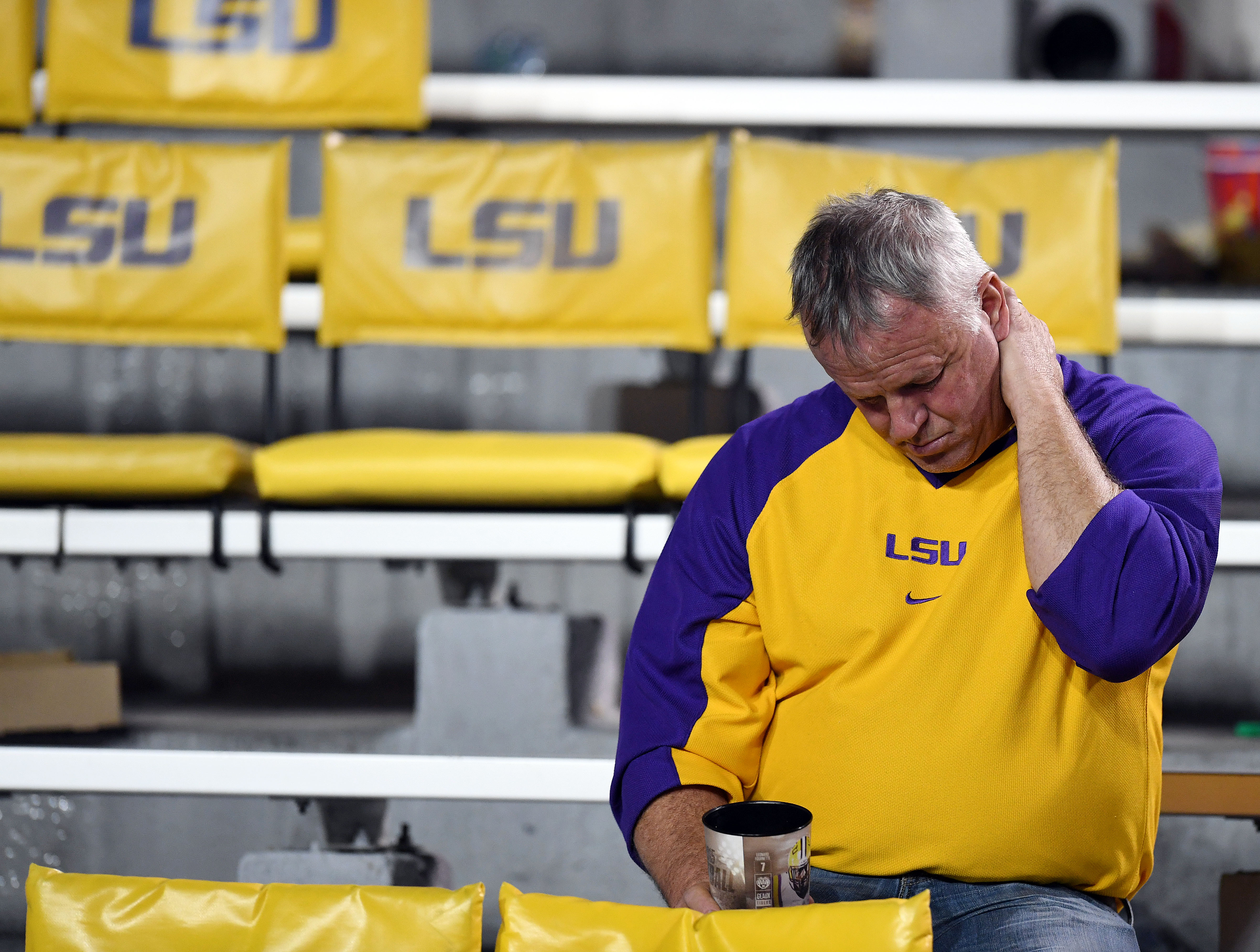 Nov 5, 2016; Baton Rouge, LA, USA; Tigers fans remain in the stands following the LSU Tigers 10-0 loss to the Alabama Crimson Tide at Tiger Stadium. Mandatory Credit: John David Mercer-USA TODAY Sports