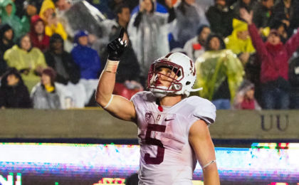 Nov 19, 2016; Berkeley, CA, USA; Stanford Cardinal running back Christian McCaffrey (5) celebrates after a touchdown against the California Golden Bears during the third quarter at Memorial Stadium. The Stanford Cardinal defeated the California Golden Bears 45-31. Mandatory Credit: Kelley L Cox-USA TODAY Sports