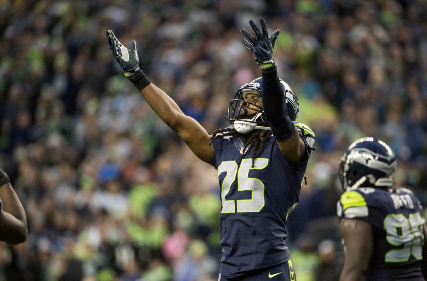 Nov 20, 2016; Seattle, WA, USA; Seattle Seahawks cornerback Richard Sherman (25) encourages fans during the fourth quarter in a game against the Philadelphia Eagles at CenturyLink Field. The Seahawks won 26-15. Mandatory Credit: Troy Wayrynen-USA TODAY Sports