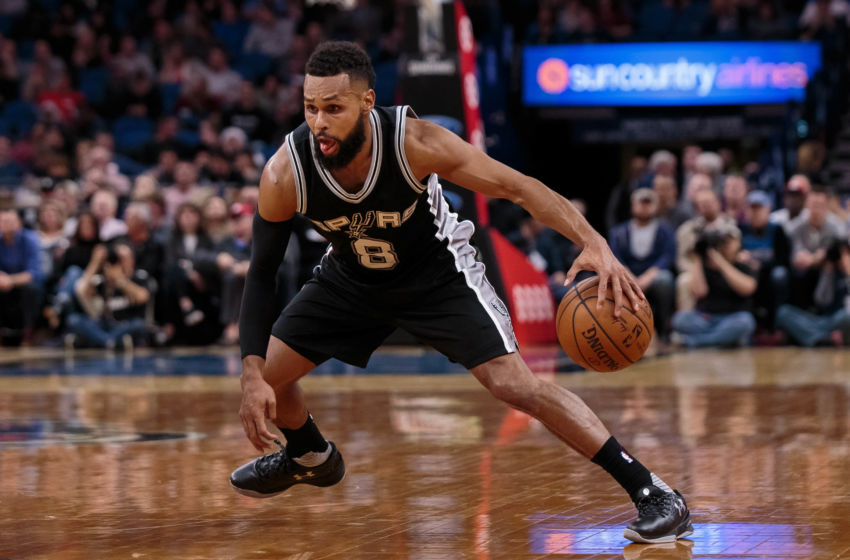 Dec 6, 2016; Minneapolis, MN, USA; San Antonio Spurs guard Patty Mills (8) dribbles in the third quarter against the Minnesota Timberwolves at Target Center. The San Antonio Spurs beat the Minnesota Timberwolves 105-91. Mandatory Credit: Brad Rempel-USA TODAY Sports